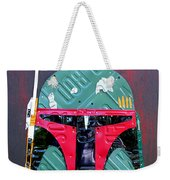 Boba Fett Star Wars Bounty Hunter Helmet Recycled License Plate Art Weekender Tote Bag