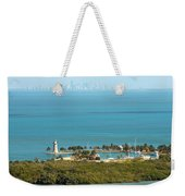 Boca Chita Lighthouse And Miami Skyline Weekender Tote Bag