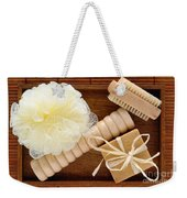 Body Care Accessories In Wood Tray Weekender Tote Bag