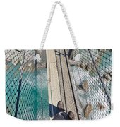Boots On Swing Bridge Over Troubled White Water Weekender Tote Bag