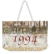 Bordeaux Blanc Label 2 Weekender Tote Bag by Debbie DeWitt