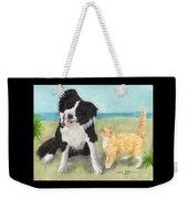 Border Collie Dog Orange Tabby Cat Art Weekender Tote Bag