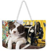 Border Collie Puppy With Sewing Machine Weekender Tote Bag