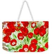 Bordered Red Tulips Weekender Tote Bag