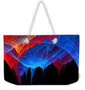 Borealis - Blue And Red Abstract Weekender Tote Bag