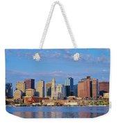 Boston Skyline And Harbor, Massachusetts Weekender Tote Bag