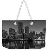 Boston Skyline Seaport District Bw Weekender Tote Bag