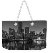 Boston Skyline Seaport District Bw Weekender Tote Bag
