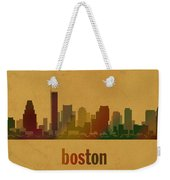 Boston Skyline Watercolor On Parchment Weekender Tote Bag
