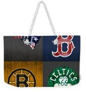 Boston Sports Fan Recycled Vintage Massachusetts License Plate Art Patriots Red Sox Bruins Celtics Weekender Tote Bag