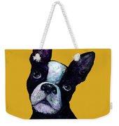 Boston Terrier On Yellow Weekender Tote Bag