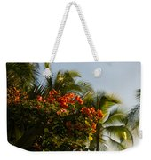 Bougainvilleas And Palm Trees Swaying In The Wind In Waikiki Honolulu Hawaii Weekender Tote Bag