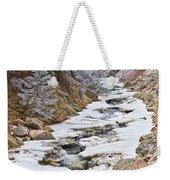 Boulder Creek Frosted Snowy Portrait View Weekender Tote Bag