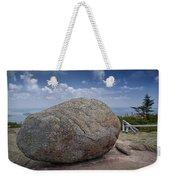 Boulder On Top Of Cadilac Mountain In Acadia National Park Weekender Tote Bag