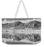 Boulder Reservoir Flatirons Reflections Boulder Co Bw Weekender Tote Bag