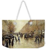Boulevard Poissonniere In The Rain, C.1885 Oil On Canvas Weekender Tote Bag