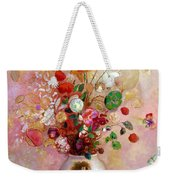 Bouquet Of Flowers In A Japanese Vase Weekender Tote Bag by Odilon Redon