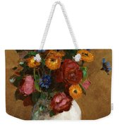 Bouquet Of Flowers In A White Vase Weekender Tote Bag