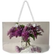 Bouquet Of Lilacs In A Glass Pot Weekender Tote Bag