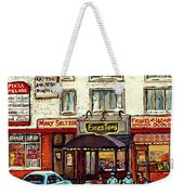 Boutique Mary Seltzer Dress Shop Cote St Luc Montreal Paintings Hockey Art City Scenes Cspandau Weekender Tote Bag
