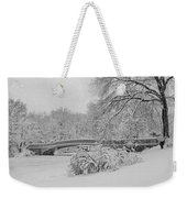 Bow Bridge In Central Park During Snowstorm Bw Weekender Tote Bag
