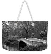 Bow Bridge Nyc In Black And White Weekender Tote Bag