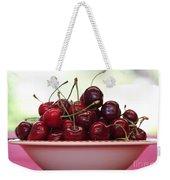 Bowl Of Cherries Closeup Weekender Tote Bag by Carol Groenen