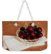 Bowl Of Cherries With Text Weekender Tote Bag