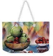 Apples In A Wooden Bowl With Cherries On The Side Weekender Tote Bag