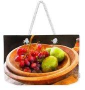 Bowl Of Red Grapes And Pears Weekender Tote Bag by Susan Savad