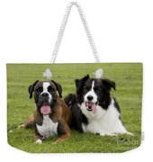Boxer And Border Collie Weekender Tote Bag