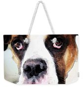 Boxer Art - Sad Eyes Weekender Tote Bag by Sharon Cummings