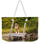 Boxer On Lake Dock Weekender Tote Bag