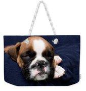 Boxer Puppy Sleeping Weekender Tote Bag by Weston Westmoreland