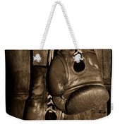 Boxing Gloves  Black And White Weekender Tote Bag by Paul Ward