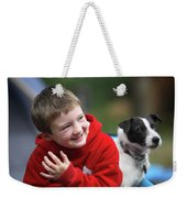 Boy, Age 6, Smiling With Jack Russell Weekender Tote Bag