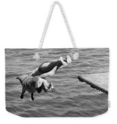 Boy And His Dog Dive Together Weekender Tote Bag