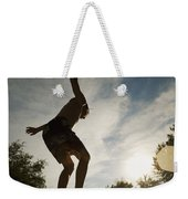 Boy Jumping Off Diving Board Weekender Tote Bag