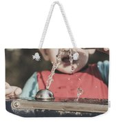 Boy Mesmerised By The Element Of Water In Motion Weekender Tote Bag