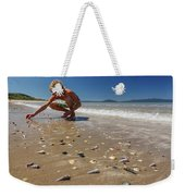 Boy Picking Seashells On The East Coast Weekender Tote Bag
