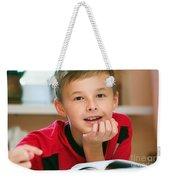 Boy Reading Book Portrait Weekender Tote Bag