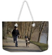 Boy Running With Dog Weekender Tote Bag