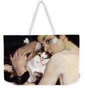 Boy With A Cat Weekender Tote Bag