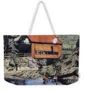 Boys And Covered Bridge Weekender Tote Bag by Joseph Juvenal