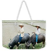 Boys On Water Buffalo In Countryside-vietnam Weekender Tote Bag