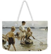 Boys Playing On The Shore Weekender Tote Bag