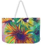 Brandy's Sunflowers - Still Life On Windowsill Weekender Tote Bag by Talya Johnson
