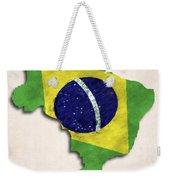 Brazil Map Art With Flag Design Weekender Tote Bag
