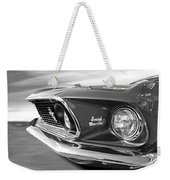 Breaking The Sound Barrier - Mach 1 428 Cobra Jet Mustang In Black And White Weekender Tote Bag