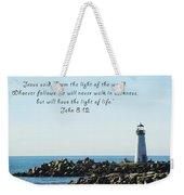 Breakwater Lighthouse Santa Cruz With Verse  Weekender Tote Bag